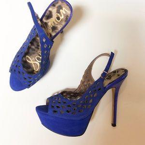 Sam Edelman blue suede platform heels 8